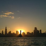 Chicago sunset sail from Lake Michigan